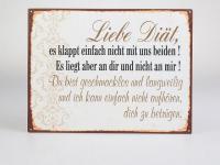 """Lafinesse Wandbild mit Aufschrift """" Liebe Diät..."""", 26 x 35 cm"""
