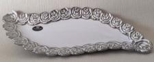 GILDE Dekoschale in Weiß Silber mit Blumenmusterung, 32 x 13 cm