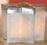 GILDE Windlicht Stern in Creme und Silber, 10, 5 cm