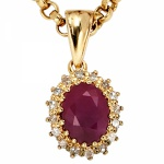 Anhänger 585 Gelbgold 16 Diamanten 0, 16ct. 1 Rubin rot Gold Anhänger