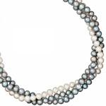 Collier Statement Perlenkette 3-reihig Süßwasser Perlen 45 cm