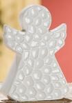 GILDE moderner Deko Engel in Weiß aus Porzellan, 14 x 10 x 3 cm