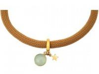 Armband 925 Silber Vergoldet Edelstein Aqua Chalcedon STAR Stern Grün