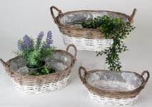Ovale Rattan-Körbe als Pflanzgefäße, braun weiß, 3 tlg mit Folie