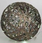 formano Dekokugel aus Rattan in Gold mit LED Beleuchtung, 20 cm