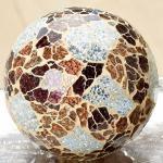 GILDE Deko-Kugel aus Mosaik-Glas in Silber Braun, 13 cm