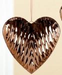 GILDE Dekohänger Herz in Gold mit Reliefierung, 14 x 14 cm