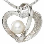 Anhänger Herz 925 Sterling Silber rhodiniert teileismatt 1 Perle