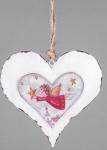 Nostalgischer Dekohänger Herz weiß mit Engel, 15 cm