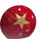 GILDE Diskus-Kerze in Rot mit Stern, 4 x 9 x 8 cm