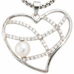 Anhänger Herz 925 Sterling Silber 1 Süßwasser Perle mit Zirkonia