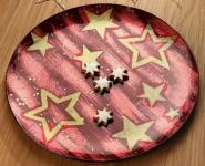 GILDE Deko-Schale Star in Bordeaux und Gold rund 36 cm