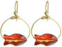 Ohrringe vergoldet Fisch Rot MADE WITH SWAROVSKI ELEMENTS® 3 cm