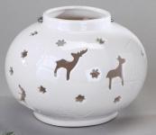 Windlicht Kugel klassisch weiß mit Hirschen, 15 cm