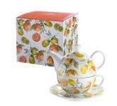 GILDE Tea for one Set im Orangendesign, inkl Geschenkverpackung