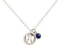 Damen Halskette Anhänger Engel Schutzengel 925 Silber Saphir1, 3 cm
