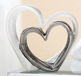 Deko-Herz Skulptur Liebe weiß silber, 17, 5 x 17 cm