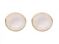 Gemshine Damen Ohrringe 925 Silber vergoldet Mondstein Weiß 13mm