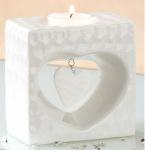 GILDE Teelichthalter Herz weiß glasiert marmoriert, 6 x 10 x 10 cm