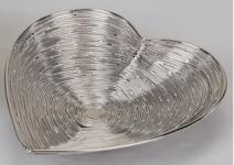formano Deko-Schale in Herzform im Wellendesign aus Metall, 18 cm
