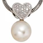 Anhänger Herz 585 Gold Weißgold 1 Süßwasser Perle 10 Diamanten