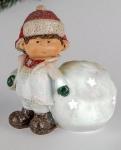 Winterkind als Teelichthalter Elmar mit Schneeball, rot weiß, 12 cm