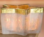 GILDE Windlicht Stern in Creme und Gold aus Glas, 10, 5 cm