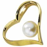 Anhänger Herz 585 Gold Gelbgold mattiert 1 Süßwasser Perle
