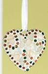 GILDE Dekohänger Herz im Muschel Design mit Glasmosaik, 16 x 29 cm