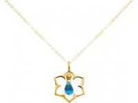 Halskette Anhänger Silber Vergoldet Lotus Blume Mandala Topas Quarz