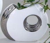 formano Vase in Edelweiß und Silber mit Loch, 19 cm