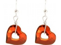 Ohrringe 925 Silber Herz Open Heart Rot WITH SWAROVSKI ELEMENTS®