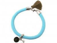 Damen Armband 925 Silber Edelstein Rauchquarz STAR Stern Blau Braun