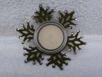Teelichthalter Schneeflocke aus Glas und Filz 11, 5 cm