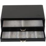 Schmuckkassette in Schwarz stapelbar Holz mit Leder 2 Schubladen