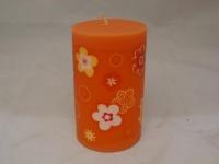 Kerze mit sommerlichen Blumen Motiv