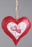 Nostalgischer Dekohänger Herz rot weiß mit Engel, 15 cm