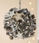GILDE Deko-Kugel mit Sternen und Zapfen grau weiß, 19 cm