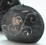 GILDE Diskus-Kerze in Grau mit Strass-Steinen, 10 cm