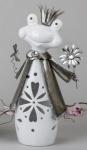 formano Windlicht Frosch in Weiß Silber aus Keramik, 38 cm