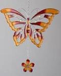 Hängedeko Schmetterling aus Tiffany-Glas in Orange, 24 cm