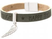 Damen Armband Schutz Engel Flügel 925 Silber WISHES Anthrazit Grau