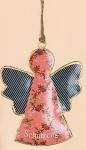 GILDE nostalgische Hängedeko Schutzengel rot aus Metall, 13 x 10 cm