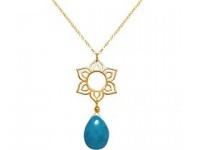 Halskette 45 cm Anhänger 925 Silber Vergoldet Blume Mandala Türkis