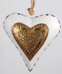 Nostalgischer Dekohänger Herz weiß gold, 20 cm