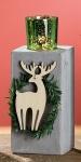 GILDE Kerzenleuchter aus Zement mit einem Holz-Elch, 10 x 8 x 22 cm