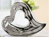 Keramik-Vase Herz mit silberner Glasur außen 27 cm