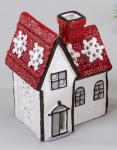 formano Häuschen als Windlicht in Rot Weiß aus Keramik, 13 cm