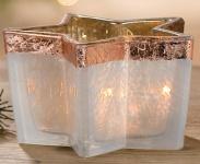 GILDE Windlicht Stern aus Glas in Creme und Kupfer, 13 cm