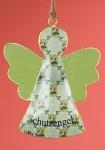GILDE nostalgische Hängedeko Schutzengel grün aus Metall, 13 x 10 cm